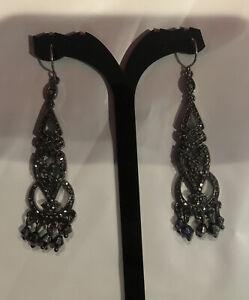 Monet Black Chandelier Earrings Drop Dangle Pierced Long