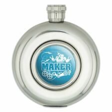 New listing Maker Blueprint Design with Robot and Gears Round Stainless Steel 5oz Hip Flask