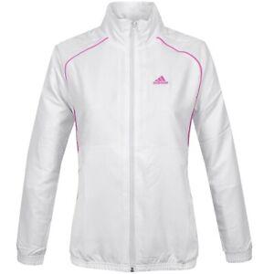 Adidas Ladies Training Jacket Tennis Windbreaker Sports Xs S M White/Pink