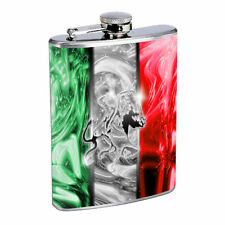 Mexico Flask D6 8oz Stainless Steel Mexican Flag Coat of Arms Spanish Pride