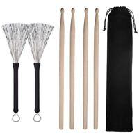 2 Paar 5A Drumsticks Classic Ahornholz Drumsticks Sets und 1 Paar Drum Wire S8B6