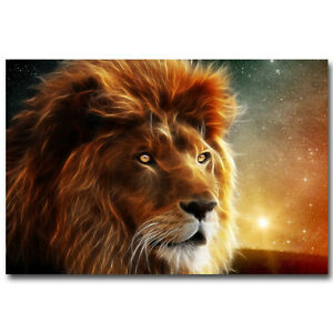 Psychedelic Narnia Lion Aslan Animals Silk Fabric Poster 13x20 24x36 inch 004