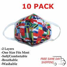 10 Pack / Pcs World Flags Fashion Face Mask Adult Unisex, Reusable, Washable