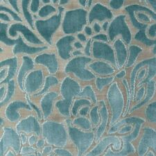 Clarke and Clarke Florentine Mineral Velvet Floral Upholstery Curtain Fabric
