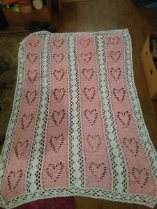 Vintage Hand Made  Crochet Afghan pink and white with heart design