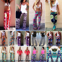 Women's Floral Print Palazzo Trousers Ladies Wide Leg Flared Loose Pants Legging