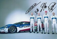 Priaulx, Franchitti, Mucke, Pla Hand Signed Ford GT 12x8 Photo Le Mans 1.