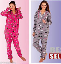 WOMENS ADULTS ALL IN ONE JUMPSUIT. FLUFFY FLEECE. MUSHTACHE DOG HOODED