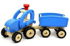 Goki 55925 Traktor mit Anhänger blau Spielzeug Kinder