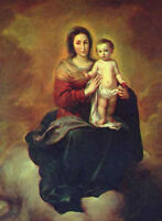 Oil painting Bartolome Esteban Murillo - Madonna in the Clouds with Child canvas