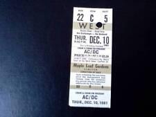 AC/DC  ticket Maple Leaf Gardens 10/12/81