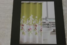 HILLCREST FLORAL FABRIC SHOWER CURTAIN   LIME GREEN/FUCHSIA/AQUA/WHITE