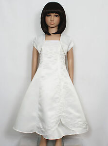 New Holy Communion Bridesmaid Flower Girls Dress+Bolero in 2 Colour  from 2-14Y