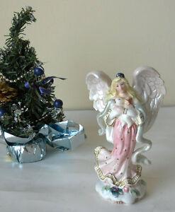 Vintage Rare Christmas Angel and Bunny Figurine Peaceable Kingdom Fitz & Floyd
