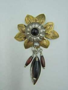 Vintage Brooch Pin Artisan Made Layered Flower w/ Dangling Wood Beads