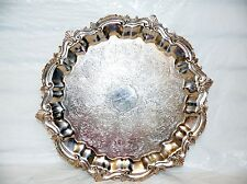Antique Goldfeder Silver Plated Butlers Serving Tray Platter Footed Hallmarked