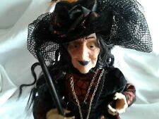 """Large Halloween Witch Doll with Broom and Hat ,vibrant black/orange colors 19.5"""""""