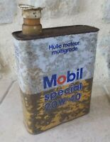 Vintage France french oil can tin MOBIL auto old 2 L #2