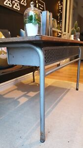 New Price -Super French VINTAGE Childs Double DESK Silver Metal Frame - Delivery