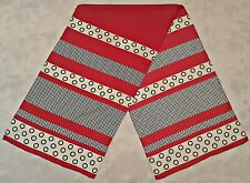 SCARF VINTAGE AUTHENTIC POLKA DOTS PLAIDS RED WHITE SILK LONG MEN'S
