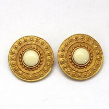 Vintage Juliana for GJD Book Piece White Cabochon Large Button Style Earrings