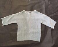 Eileen Fisher Pullover Sweater Size XXS  Blue Metallic Ribbed Boxy Italian Yarn