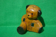CHARACTER CARVING OF SMALL OLD TEDDY BEAR IN STAINED AND PAINTED WOOD
