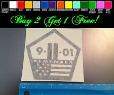 9/11 Remember BLACK Sticker decal Car window America Flag twin towers RIP USA