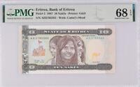 Eritrea 10 NAKFA 1997 P 3 Superb GEM UNC PMG 68 EPQ