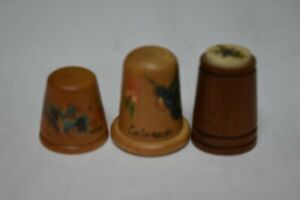 Wood Thimbles Collectibles hand-carved wood thimbles - set of 3 VGC