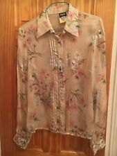 Dolce & Gabbana Multicolor Silk Chiffon Sheer Floral Button Up Blouse SZ 42