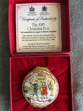 Halcyon Days 1985 Christmas Box in red box Children playing decorated sides too