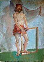 """Russischer Realist Expressionist Öl Leinwand """"Männlicher Akt"""" 120 x 80 cm"""
