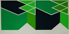"""Larry Zox  Green Composition 1980 Linocut Lithograph   36"""" x 21"""""""
