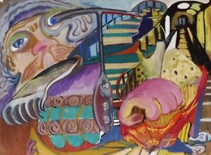 WILLIAN LA GRILLE - 1941 LARGE EARLY ORIGINAL  GOUACHE ABSTRACT   - LISTED/COA
