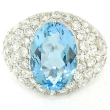 Antique Platinum GIA Aquamarine & Pave Diamond Bombe 9.84ctw Cocktail Ring