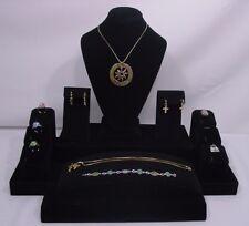 Black Velvet Jewelry Display Set Necklace Ring Pendant Earring Bracelet St2003b1