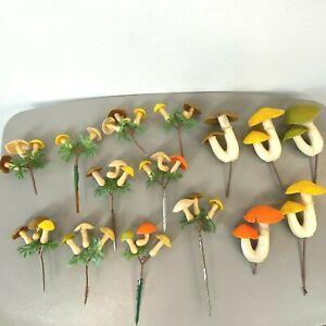 Mushroom Picks Lot 15 Craft Floral Plastic Green Orange Brown Vintage 1970s AR2