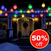 Solar Powered 30 LED String Ball Light Garden Path Decor Lamp Outdoor Waterproof