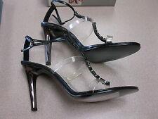 NINE WEST Black Clear Medium Sandal Heel  W Bling Accents Size 9.5 Leather B3238