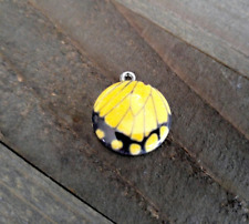 Butterfly Wing Charm Swallowtail Yellow Black Silver Enamel Pendant Circle