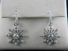 New 14k White Gold 1.50ctw Diamonds Dangle Starburst/Snowflake Earrings– LA5772