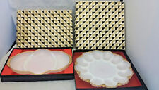 2-Mid Century Milk Glass Heavy Gold Trim Relish & Oyster Serving Plates in boxes