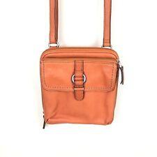 Fossil Leather Crossbody Organizer Bag/Purse Monarch Orange Leather