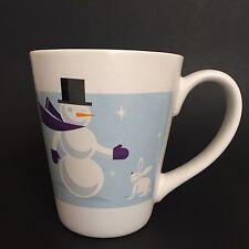 Starbucks 2011 Christmas Holiday Snowman with Bunny Ceramic Coffee Cup Mug
