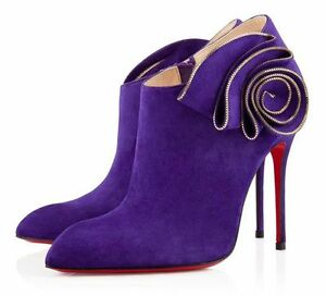 NEW Christian Louboutin MRS Baba 100 Ankle Boots Purple Suede Shoes 40