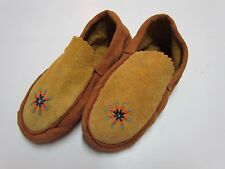 AUTHENTIC NATIVE AMERICAN MOCCASINS/SLIPPERS - SIMPLY BEAUTIFUL STYLE - 8 IN