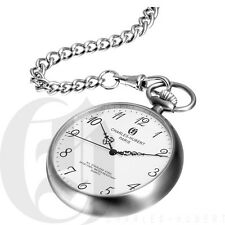 New Charles Hubert Stainless Steel Open Face Quartz Pocket Watch 3534