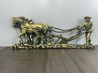 Authentic Vintage Brass Shire Horse Ploughing Wall Plaque Fireplace Lovely