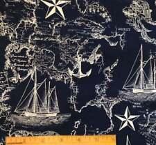 Navy Blue, Nautical, Map, Cotton Fabric, Fat Quarter, FQ 18